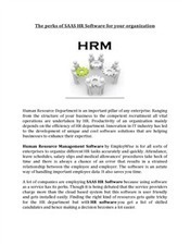 The perks of SAAS HR Software for your organization | EmployWise | Scoop.it