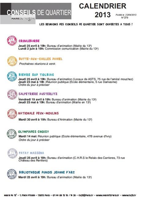 Agenda des Conseils de quartier de Paris 13ème | actions de concertation citoyenne | Scoop.it