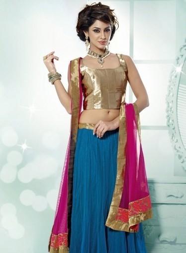 Blue Designer Lehnga Choli with Resham work. Shop online with confidence   Bridal Lehengas   Scoop.it