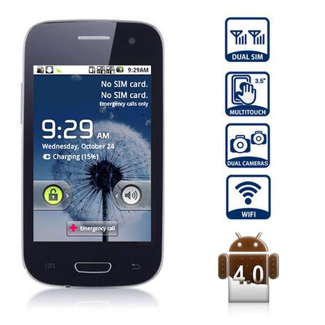 €59.99 3,5 pouces Y9300+ Android 4.0 Smartphone HVGA écran tactile téléphone portable Double carte SIM TV analogique Smdk4012 1GHz (Royal Blue) - 7mall.fr | 7mall | Scoop.it