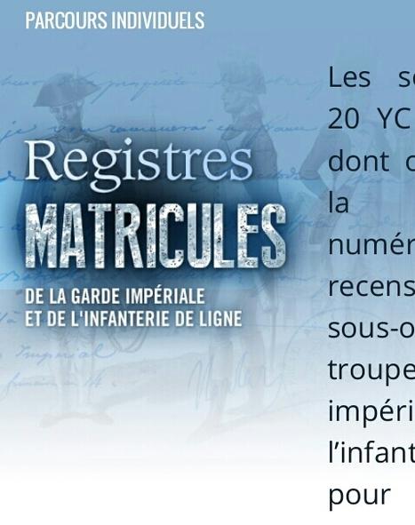 Registres matricules de la garde impériale et de l'infanterie de ligne - Mémoire des Hommes | Nos Racines | Scoop.it