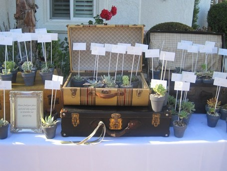 No Impact Bride Ideas for Decorating with Vintage Luggage