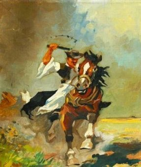 oil on canvas painting of a mexican cowboy, old ca 1940's, laid down on plywood | Alcoholic Outsider Artist | Scoop.it