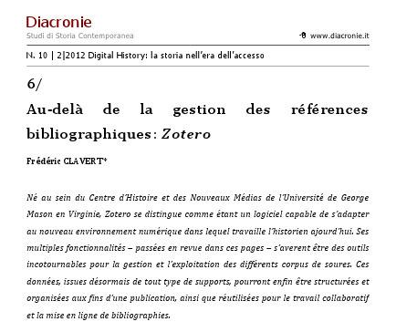 Au-delà de la gestion des références bibliographiques: Zotero - «Diacronie»   studistorici.com   Zotero   Scoop.it