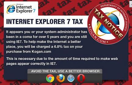 Un site marchand australien facture une taxe aux utilisateurs d'IE7 ! | Bonnes pratiques de Programmation web | Scoop.it