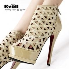 Wholesale Patenet Leather Cut Outs HIgh Heels Sandals Boots Shoes Wholesale Size 34 to 43 Kvoll D68752 Apricot [D68752]- US$25.52 - www.wholesaleshoes8.com | Kvoll | Scoop.it
