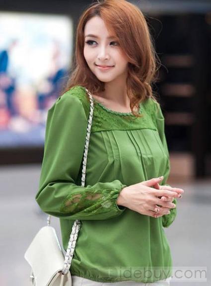 Modern Korean Style Split Joint Long Sleeve Chiffon Lace Blouse   Bellafuny   Scoop.it