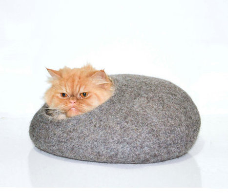 Grey cat house, felt bed, cats cave, gray natural eco-friendly, wool | Handmade Quality Items | Scoop.it