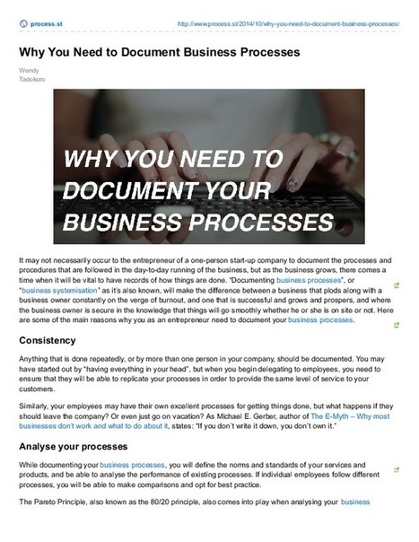 Why You Need to Document Business Processes | Business Process Management | Scoop.it