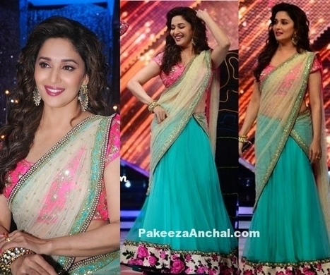 Madhuri Dixit in Sea Green and Pink Peppermint Diva Half Saree for Modern women | Indian Fashion Updates | Scoop.it