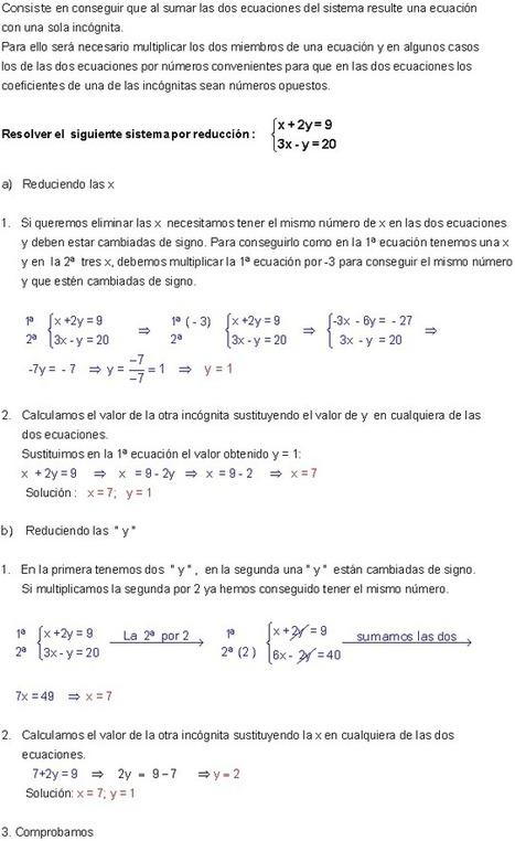 Sistemas de ecuaciones lineales con 2 incógnitas | Sistema de ecuaciones lineales | Scoop.it