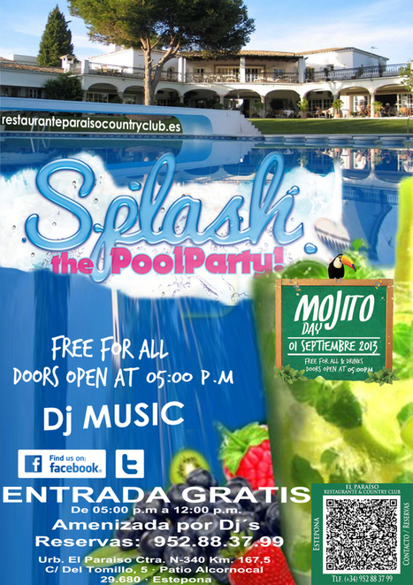 MOJITO POOL PARTY EL PARAISO Restaurante & Country Club Estepona. Entrada Gratis. | Restaurante El Paraiso Country Club en Estepona | Photoshop Mis pequeños Pinitos. Utilidades Photoshop. | Scoop.it