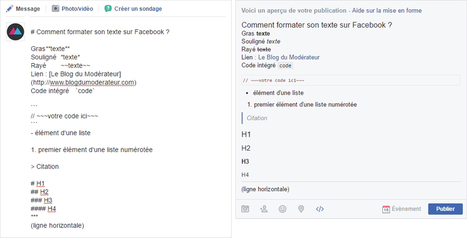 Comment formater une publication Facebook ? (gras, italique, souligné...) | CommunityManagementActus | Scoop.it
