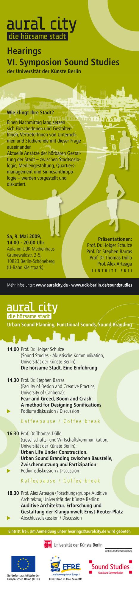 Hearings | Symposion - Aural City | Die hörsame Stadt | DESARTSONNANTS - CRÉATION SONORE ET ENVIRONNEMENT - ENVIRONMENTAL SOUND ART - PAYSAGES ET ECOLOGIE SONORE | Scoop.it