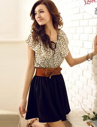 Sweet Polka Dot Bowtie Dress with Flounced Trim - Dresses Code: 1312647 - Cheap Wholesale Price at ClothesCheap.com | Asian Beautiful Girl | Scoop.it