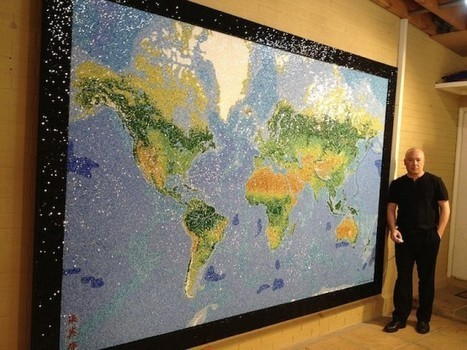 Computer Programmer Spent Two Years Creating Awe-Inspiring World Map Mosaic from 330,000 Tiny Glass Shards | Strange days indeed... | Scoop.it