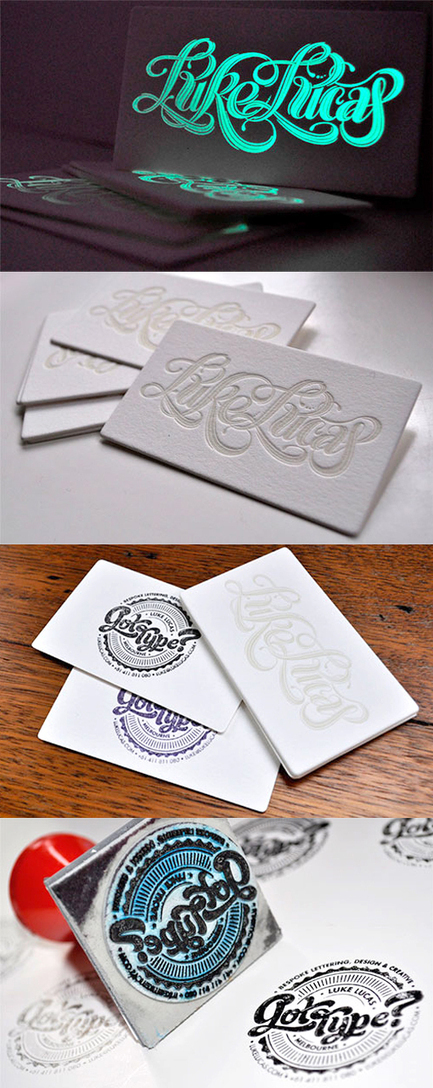 Awesome Typography Glow In The Dark And DIY Stamp Business Cards | MarketingHits | Scoop.it