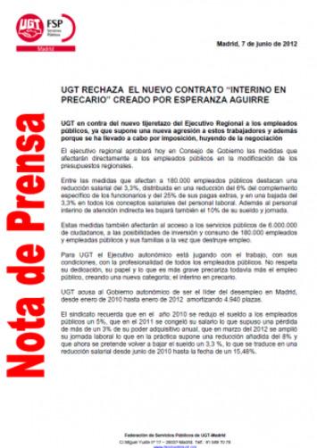 UGT rechaza el nuevo contrato de interino en precario creado por EsperanzaAguirre | Partido Popular, una visión crítica | Scoop.it