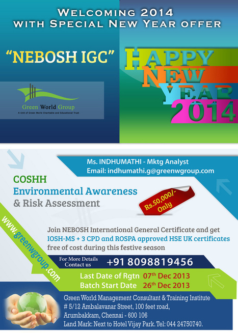 GWG's New year Special Offer for Nebosh IGC course in Chennai | Nebosh Course Cochin | Scoop.it