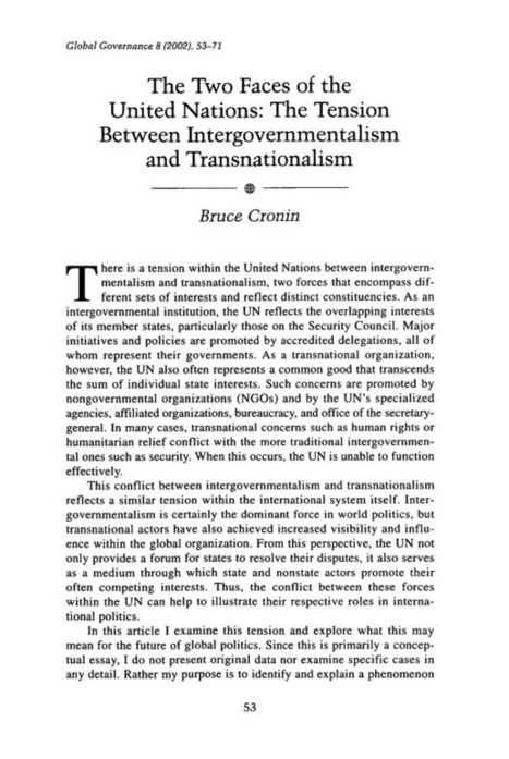 8 Global Governance 2002 Two Faces of the United Nations: The Tension between Intergovernmentalism and Transnationalism, The   international relations   Scoop.it