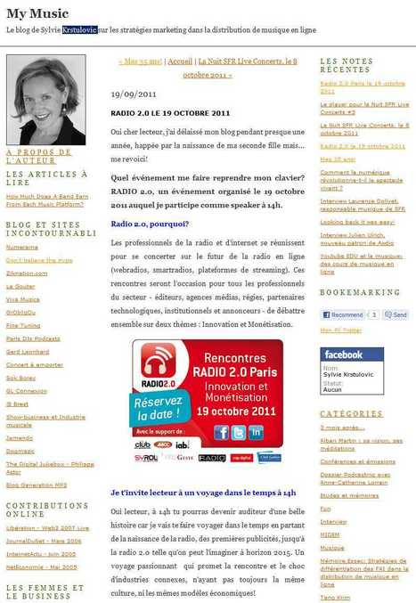 My Music: Radio 2.0 le 19 octobre 2011 | Radio 2.0 (En & Fr) | Scoop.it