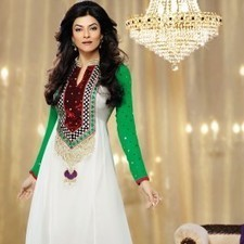 Off White Faux Georgette Sushmita Sen Salwar Kameez | Strollay.com | Scoop.it