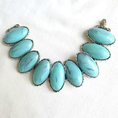 Vintage Faux Turquoise Cabochons Link Bracelet   Favorite Vintage Jewelry   Scoop.it