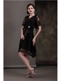 $ 156.99 Gorgeous Crystal Sashes A-Line V-Neck Short-Sleeves Tea-length Plus Size Luba's Mother of the Bride Dress | Fashion ladies | Scoop.it