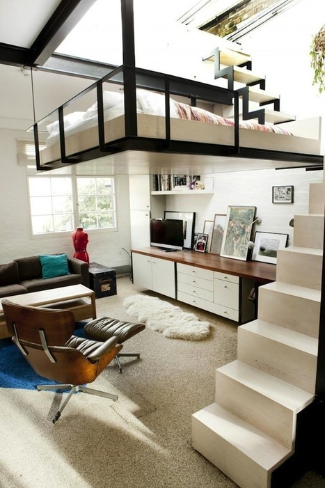 Space-Saving Suspended Bed in a Modern London Apartment | Interioraholic | Scoop.it