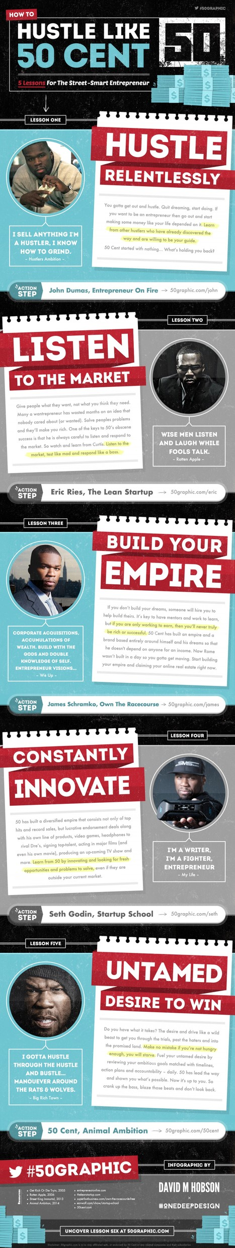 How To Hustle Like 50 Cent: 5 Lessons For Street-Smart Entrepreneurs | Visual.ly Infographic | Personal Branding Using Scoopit | Scoop.it