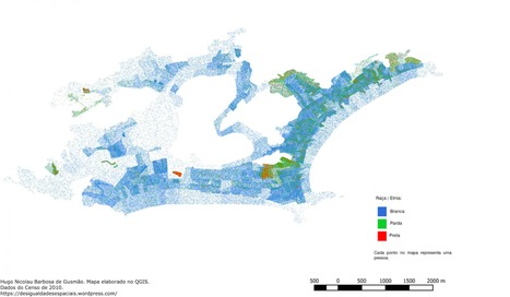 "A Brazilian student mapped out Rio's racial segregation at the beach. Can you say ""white folks only?"" 