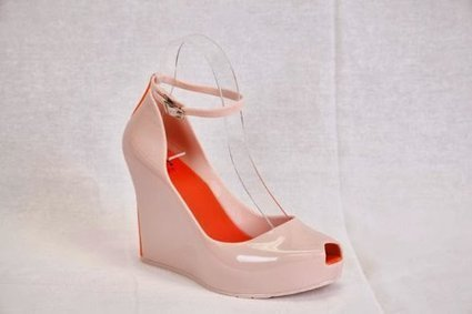 Women's light pink jelly wedge sandal with peep toe and ankle strap   Wedding Shoes   Scoop.it