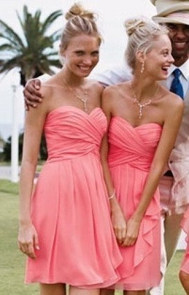 Beautiful Coral Strapless Knee Chiffon Bridesmaid Dresses | Wedding Dresses | Scoop.it