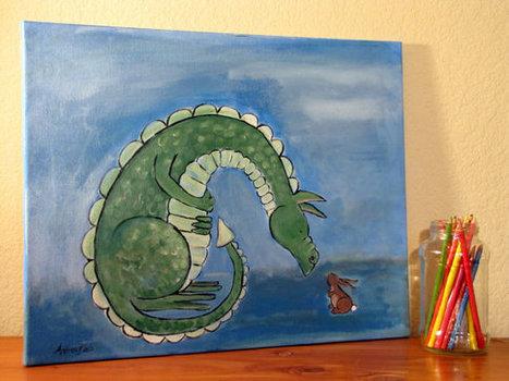 Children Dragon Painting, Kids Art by Andrea Doss, 20 x 16, Gift for Kids | Art* | Scoop.it