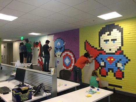 Ils redécorent leur bureau avec des super-héros faits avec 8024 post-it | Yantez | Scoop.it
