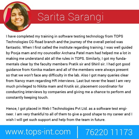 Feedback of Software Testing Training Student from TOPS Technologies Pvt Ltd CG Road branch, Ahmedabad. | IT Traininig | Scoop.it
