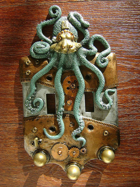 Green Steampunk Octopus Double Light Switch Cover Key Chain Holders. Animal Wall Art Sculpture Wall Decor Decorative Arts | crafting | Scoop.it