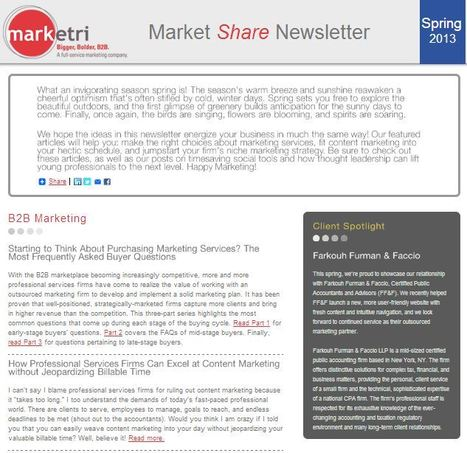 Marketri's MarketSHARE Newsletter - Spring 2013 | My Thoughts on Marketing | Scoop.it