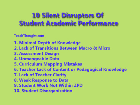 10 Silent Disruptors Of Student Academic Performance | Improving Your Teaching Practice | Scoop.it