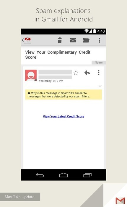 Spam explanations&nbsp;<br/><br/>Have you ever wondered why a message ended up in spam? Now you'll find an explanation... [Enterprise on G+]   Google Product News   Scoop.it