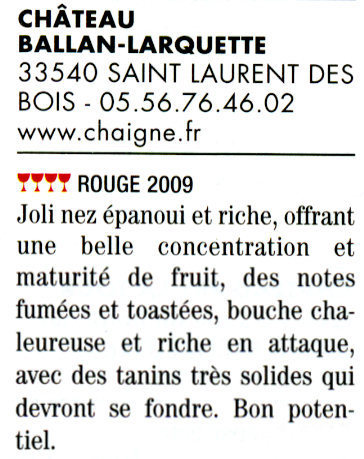 Guide Hubert 2011 - Château Ballan-Larquette Bordeaux rouge 2009 | Nombrilisme | Scoop.it