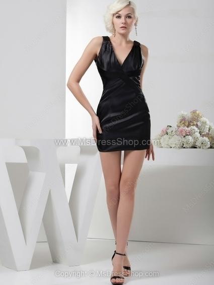 Sheath/Column V-neck Satin Short/Mini Ruched Cocktail Dresses | Cocktail dresses online | Scoop.it