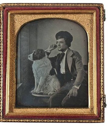 Daguerreotype of a St. Bernard & His Owner Gazing out the Window | Antiques & Vintage Collectibles | Scoop.it