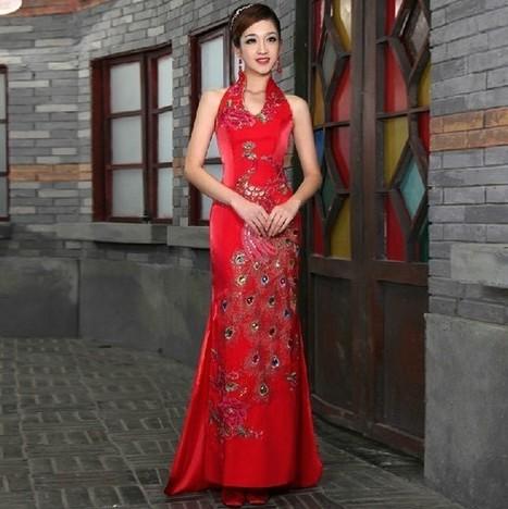 Long Brocade Bridal Wedding Cheongsam with Chinese Phoenix Embroidery | Cheongsam | Scoop.it