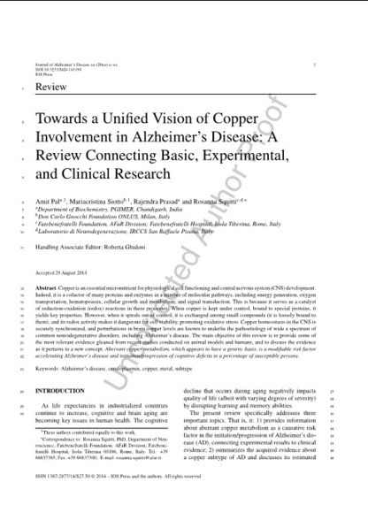 Towards a Unified Vision of Copper Involvement in Alzheimer's Disease: A Review Connecting Basic, Experimental, and Clinical Research   Neuroscience: Alzheimer's disease   Scoop.it