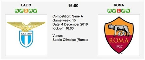 Lazio vs. Roma:  Match preview - 04/12/2016 - Serie A | Free betting tips on football,tennis,hockey & more | Scoop.it