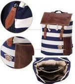 unisex striped canvas rucksack wth leather flap | Womens fashion | Scoop.it