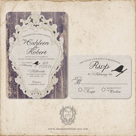 "French ""Weathered Elegance"" Wedding Invitations 