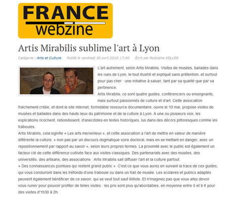 Artis Mirabilis sublime l'art à Lyon | avril 2010 | France Webzine | ARTIS MIRABILIS : toute la revue de presse | Scoop.it