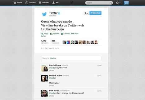 Twitter ondersteunt nu ook 'afgebroken regels' op de .com site | Twittermania | Twitter in de klas | Scoop.it